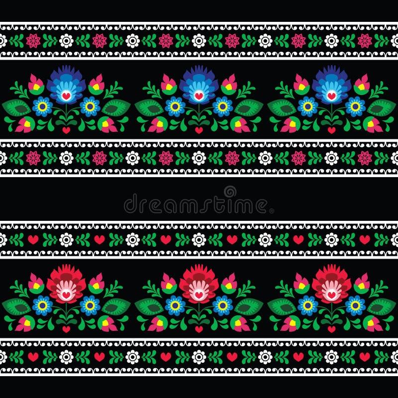 Bezszwowy Polski ludowej sztuki wzór z kwiatami - wzory lowickie na czerni royalty ilustracja