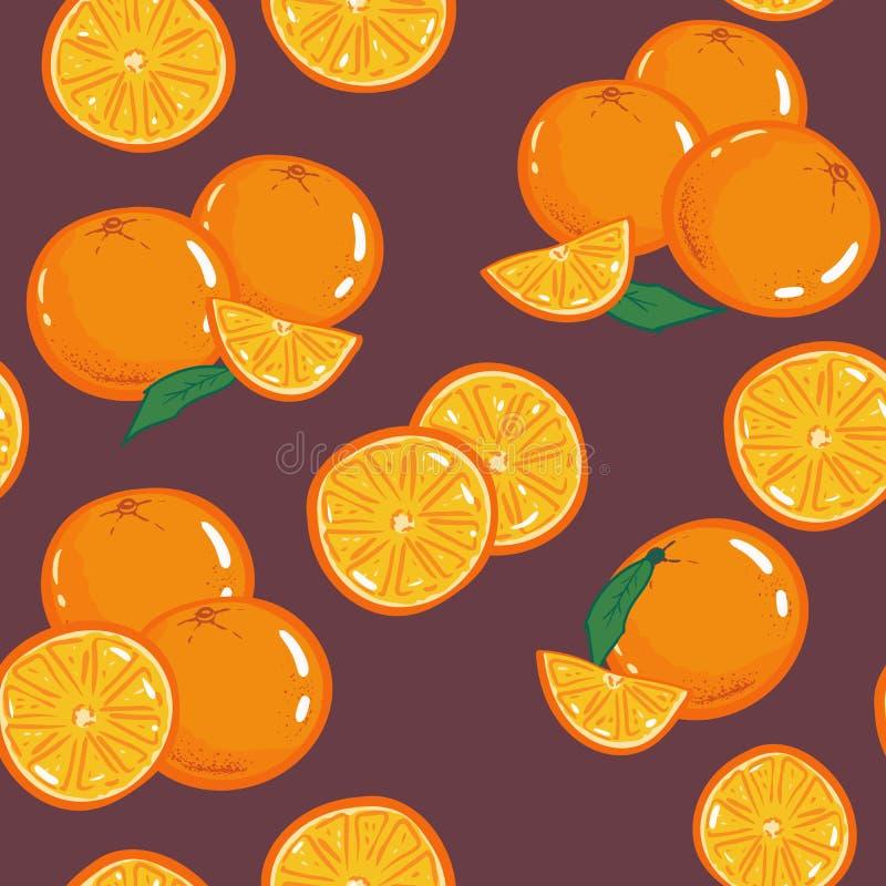 Bezszwowy pomarańcze wzór Rocznika wektoru ilustracja Szablon dla pakunku, tapeta, pokrywa, tkanina, druku projekt Częstotliwy tł ilustracji