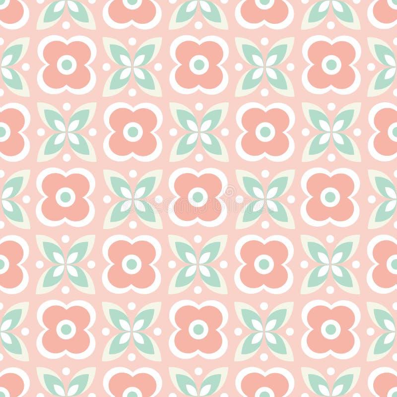 Bezszwowy powtórka wzór stylizowani menchia kwiaty, zieleń i opuszcza w geometrycznym projekcie Wektorowy tło ideał dla royalty ilustracja