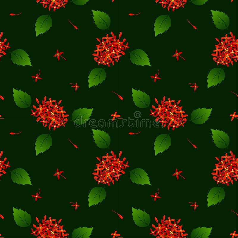 Bezszwowy powtórka wzór z czerwonymi tropikalnymi kwiatami na ciemnym tle ilustracja wektor