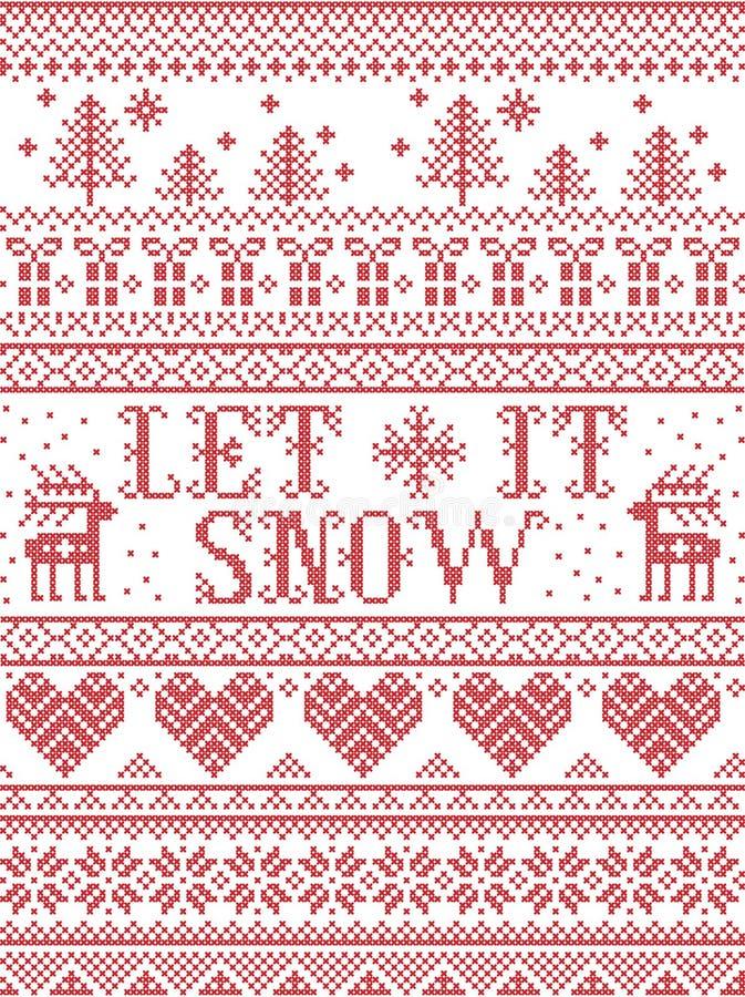Bezszwowy Pozwala mnie Śnieżny Skandynawski tkanina styl, inspirowany Norweskimi bożymi narodzeniami, świąteczny zima wzór w prze royalty ilustracja