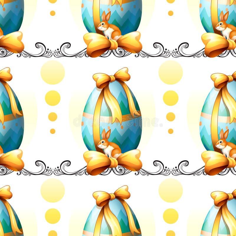 Bezszwowy projekt z Wielkanocnymi jajkami i królikami royalty ilustracja