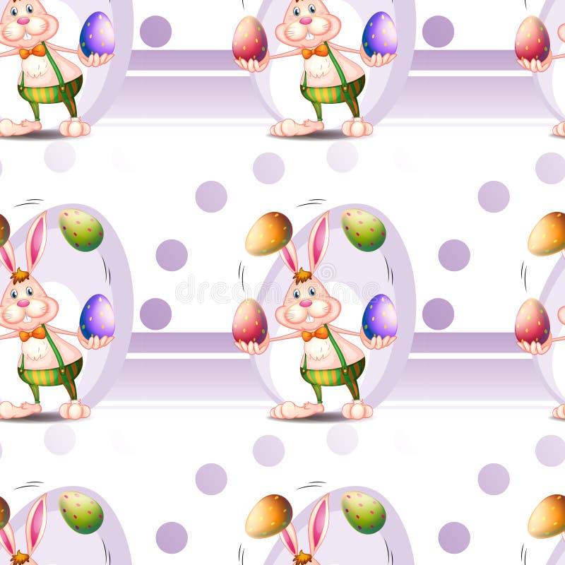 Bezszwowy projekt z Wielkanocnymi jajkami i królikiem ilustracji