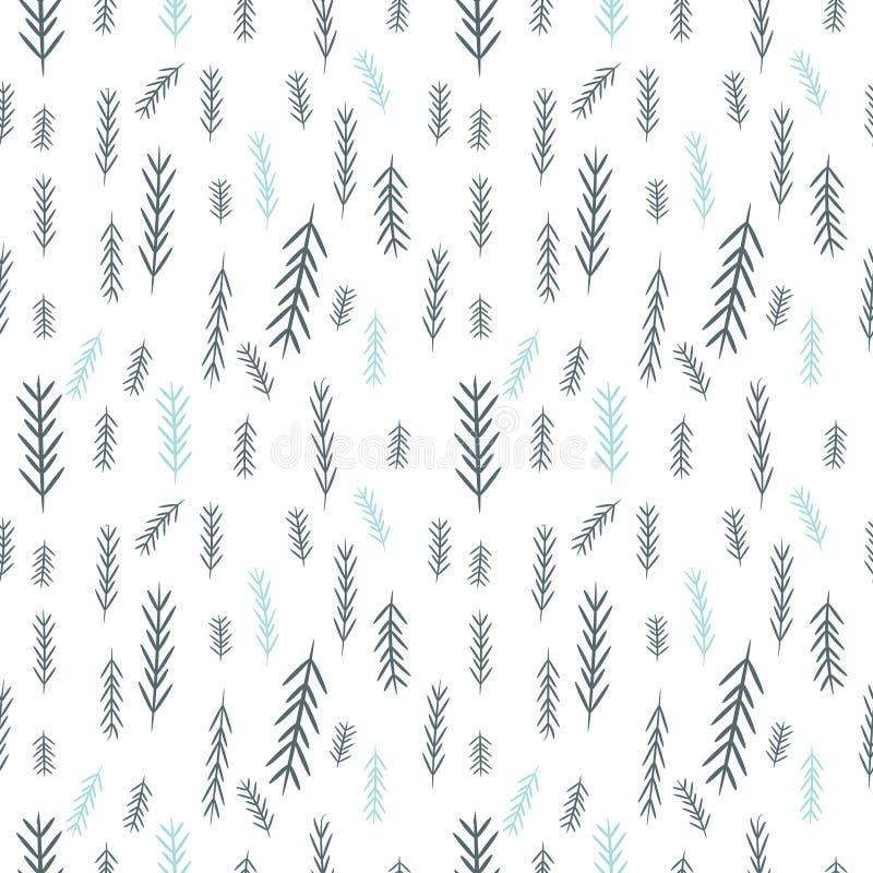 Bezszwowy prosty wektorowych grafika wzór Dachówkowy Bożenarodzeniowy tło z chojakiem Opakunkowego papieru tekstura ilustracja wektor