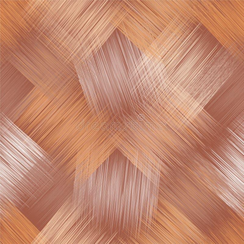 Bezszwowy przekątna wzór z grunge paskował kwadratowych elementy w beżu, brąz, biel kolory royalty ilustracja