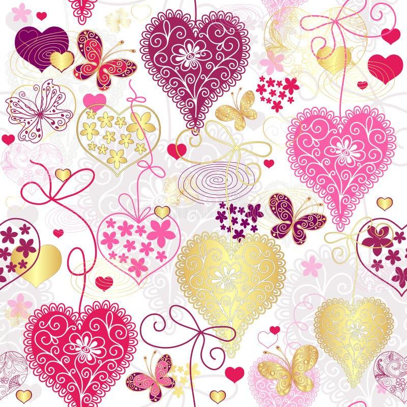 Bezszwowy pstrobarwny valentine wzór ilustracja wektor