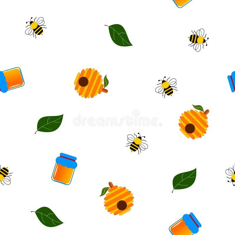Bezszwowy pszczoły i dekoracji set ilustracja wektor