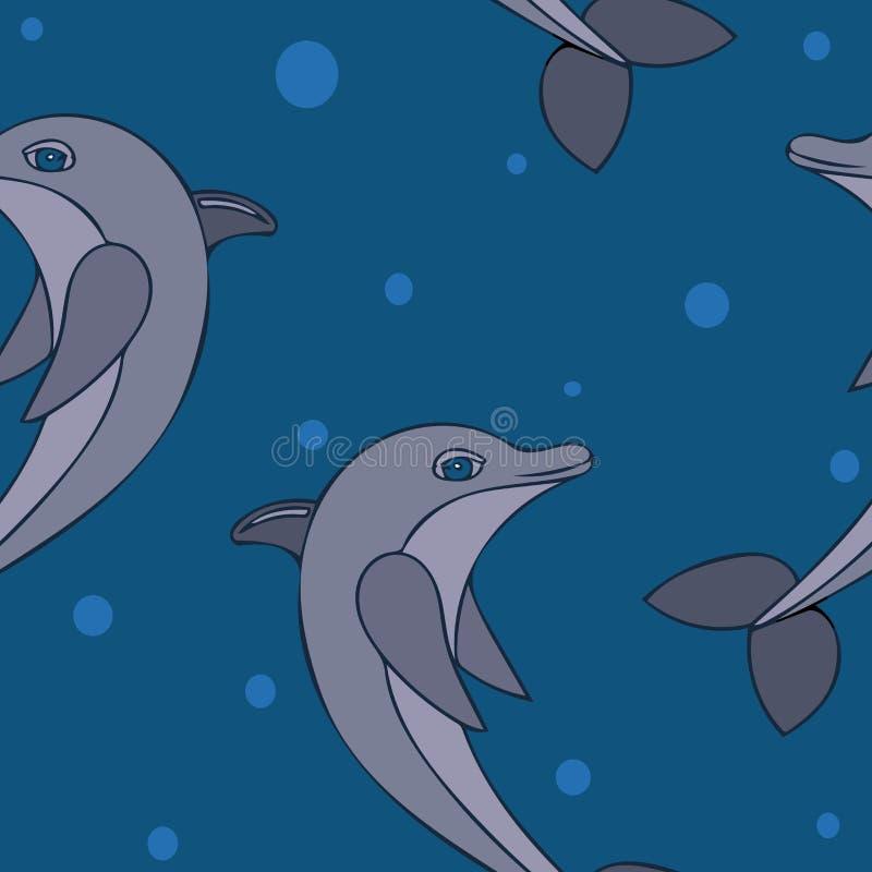 Bezszwowy pttern z wektorową ilustracją delfin ilustracja wektor