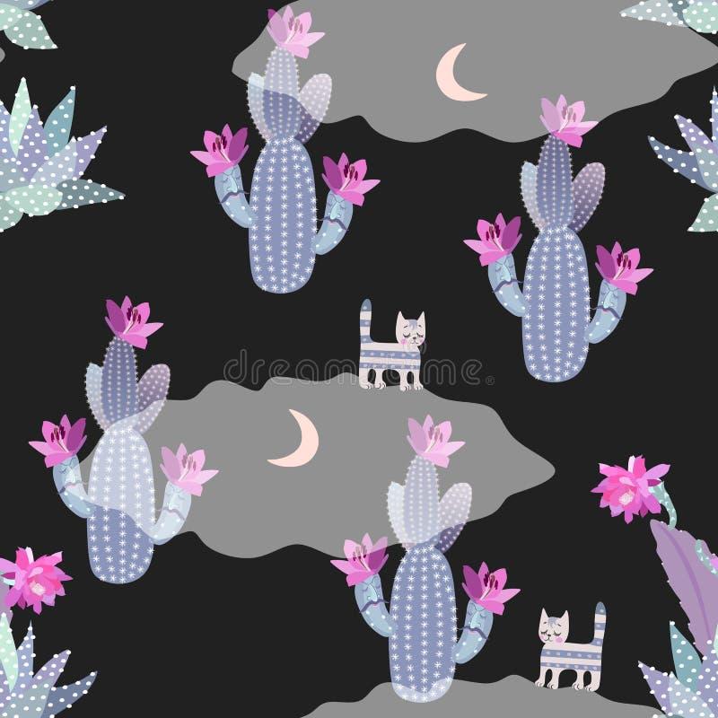 Bezszwowy pustynia wzór z kwitnącymi kaktusami, księżyc i śmiesznymi kotami na nocnym niebie na przejrzystych chmurach, Bajk ilustracja wektor