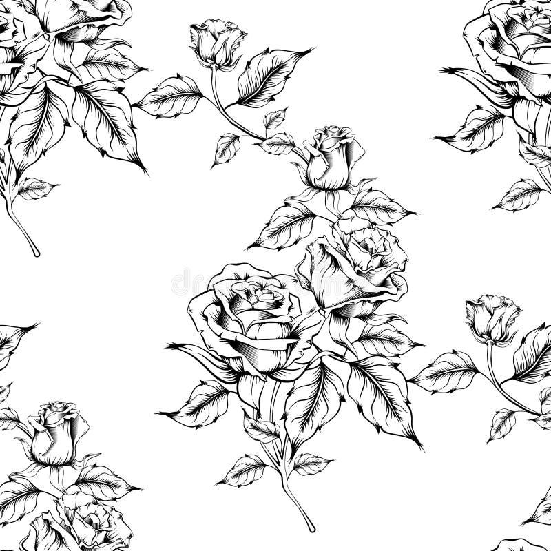 Bezszwowy r??a wz?r z nakre?lenie kwiatami royalty ilustracja