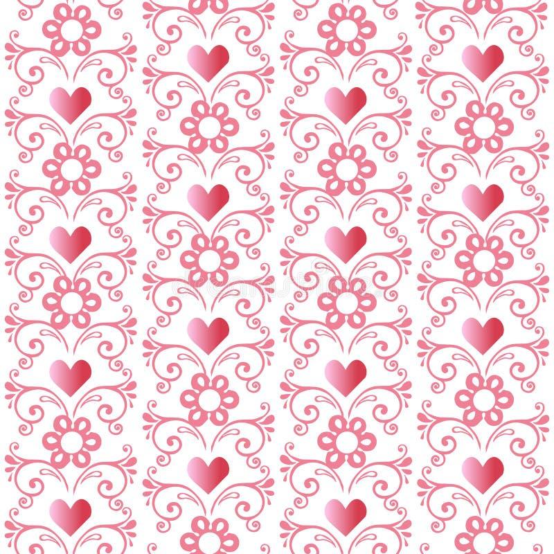 Bezszwowy różowy kwiecisty wzór z sercami Dekoracyjny ornamentu tło dla tkaniny, tkanina, opakunkowy papier royalty ilustracja