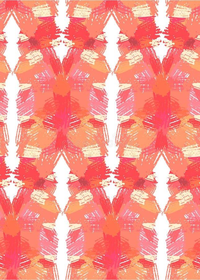 bezszwowy ręka patroszony wzór Abstrakcjonistyczny tło z lustrzanego odbicia muśnięcia uderzeniami Ciepła ręka rysująca kolor tek royalty ilustracja