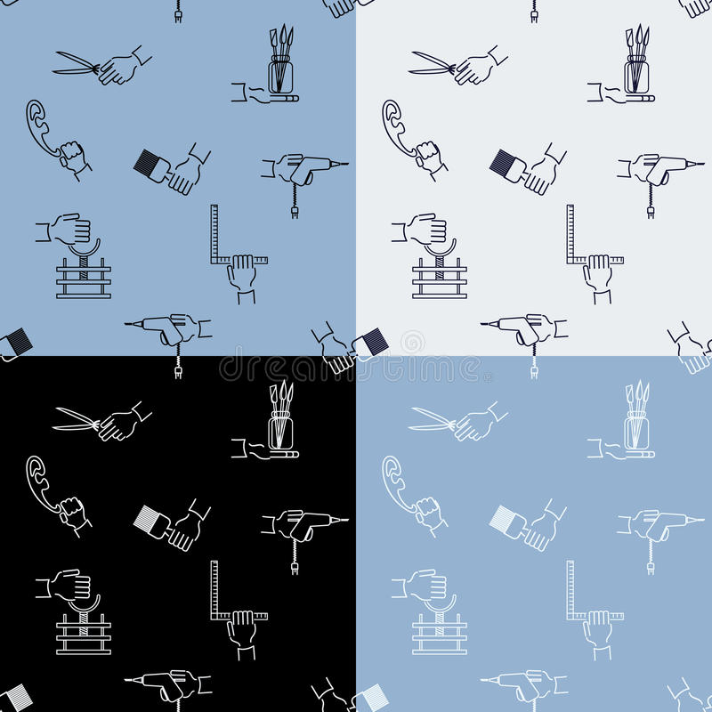 Bezszwowy rękodzieło wzór z narzędzie rękami i elementami ilustracji