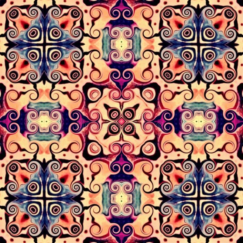 Bezszwowy raster wzór w orientalnego stylowego kwiatu mozaiki psychodelicznym wzorze dla tapety, tła, wystrój dla makat Psyc royalty ilustracja