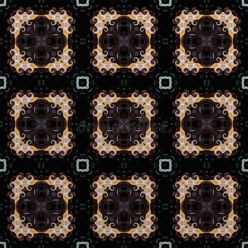 Bezszwowy raster wzór w orientalnym stylowym psychodelicznym mozaika wzorze dla tapety, tła, wystrój dla makat, dywan ilustracja wektor