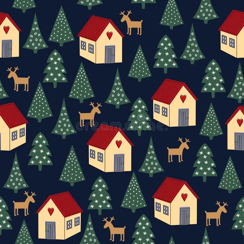 Bezszwowy retro boże narodzenie wzór zróżnicowani Xmas drzewa, domy i deers -, royalty ilustracja