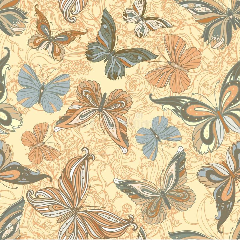 Bezszwowy rocznik deseniujący motyli tło royalty ilustracja