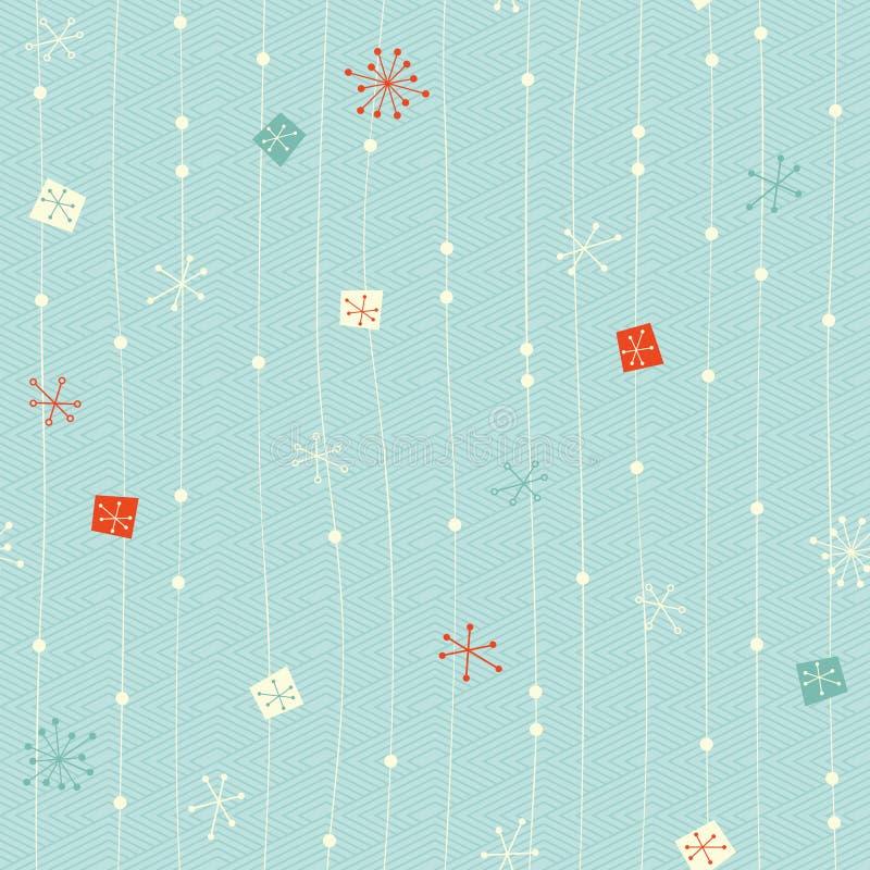 Bezszwowy rocznik zimy wzór ilustracja wektor
