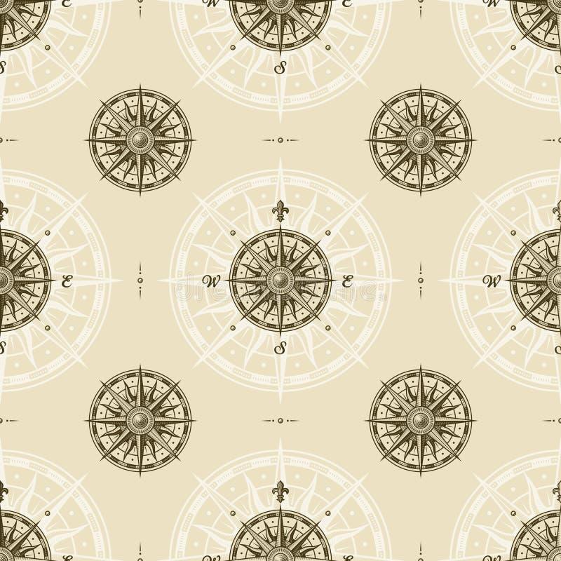 Bezszwowy rocznika kompasu róży wzór royalty ilustracja