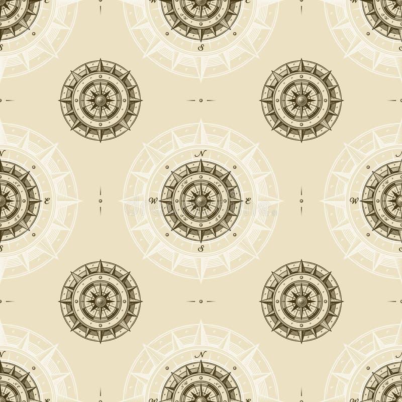 Bezszwowy rocznika kompasu wzór royalty ilustracja