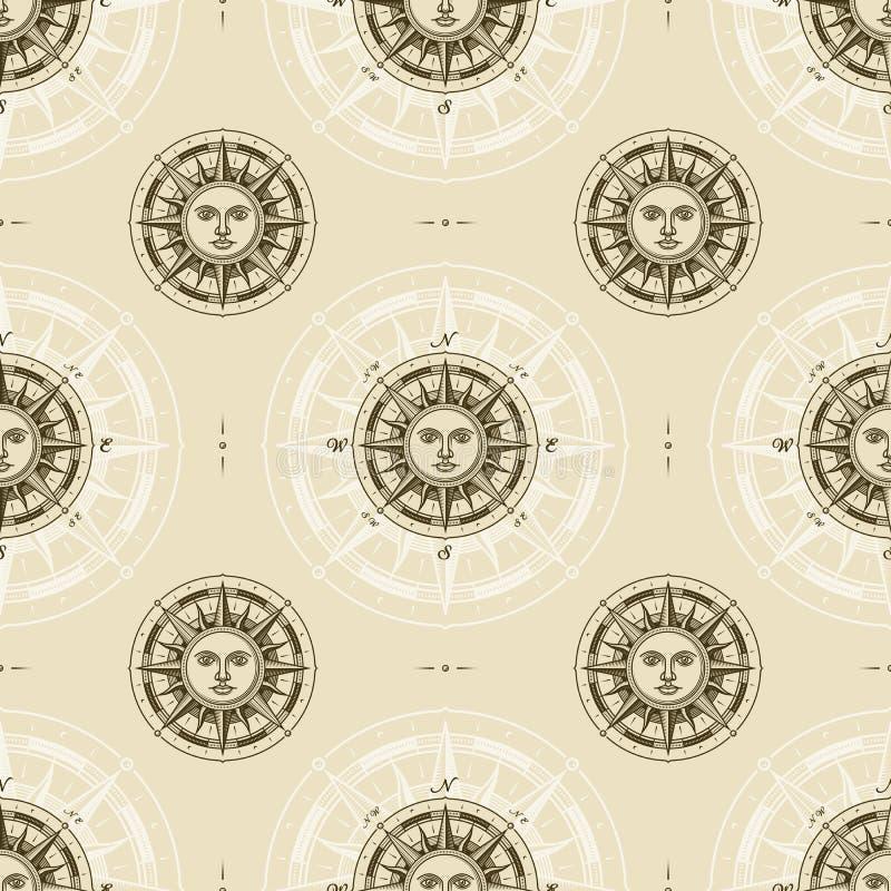Bezszwowy rocznika słońca kompasu róży wzór royalty ilustracja