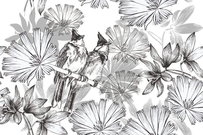 Bezszwowy rocznika tło z dwa kwiatami i ptakami wally Pociągany ręcznie, wektorowa ilustracja, ilustracja wektor