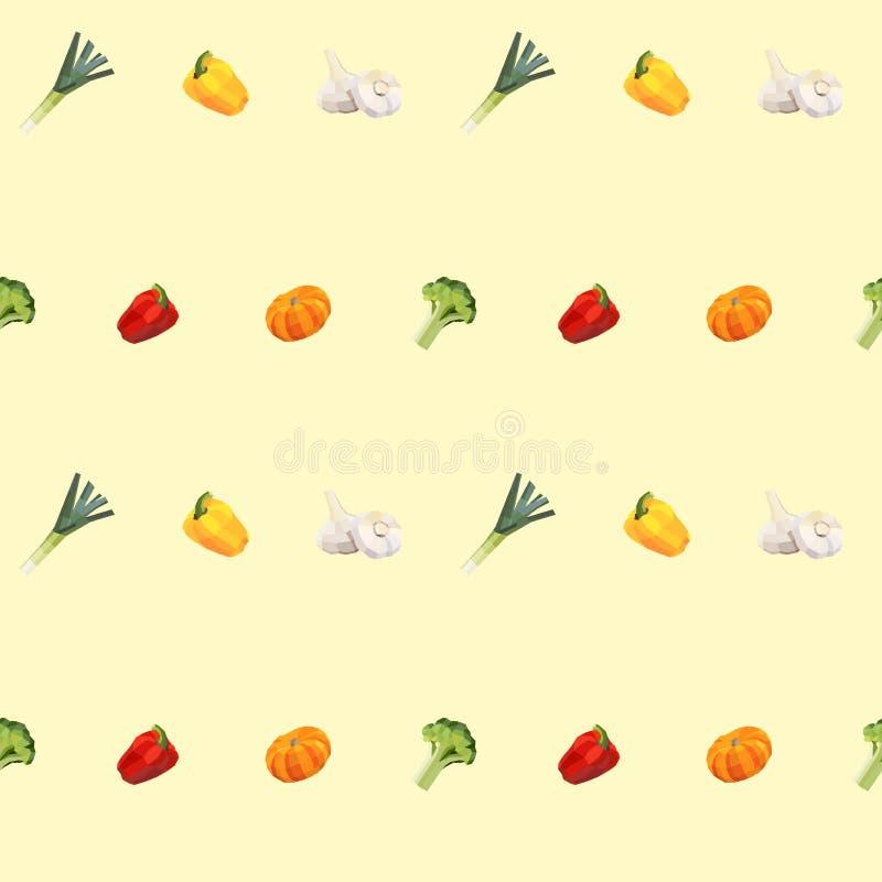 Bezszwowy rocznika wieloboka warzywa wzór ilustracji