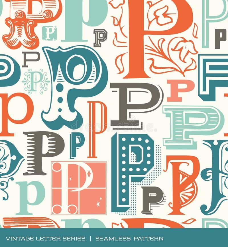 Bezszwowy rocznika wzór list P w retro kolorach royalty ilustracja