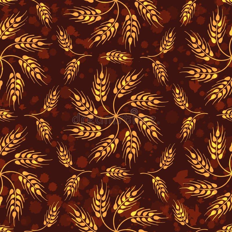 Bezszwowy rocznika wzór z mozaiką od banatki whea i kwiatów ilustracja wektor