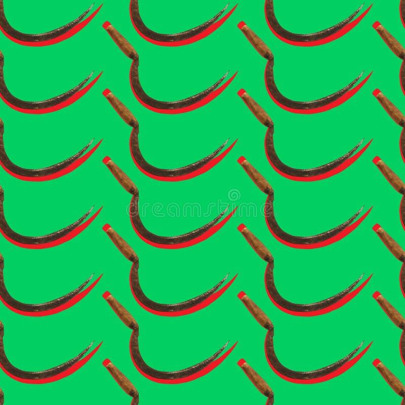 Bezszwowy rolniczy wzór z rocznika sierpem na zielonym tle ilustracji