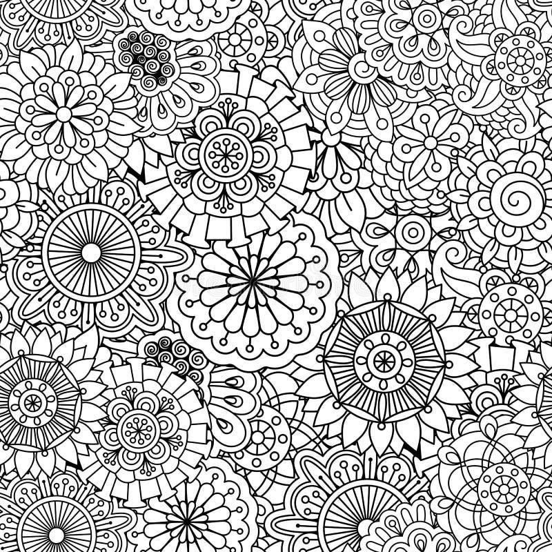 Bezszwowy round kwiecisty wzór z pinwheel kształtami royalty ilustracja