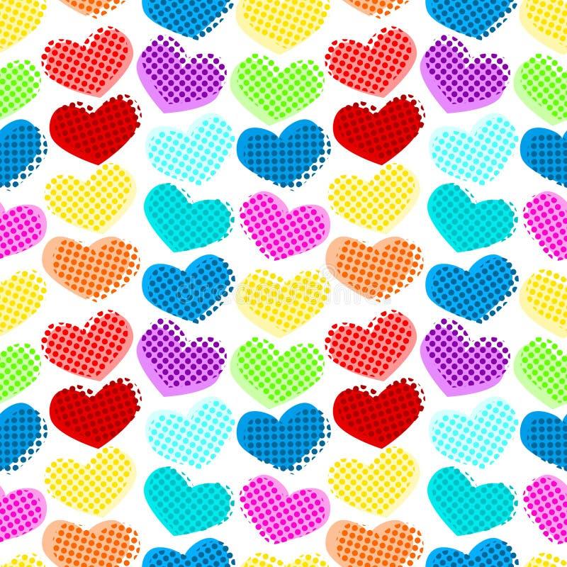 Bezszwowy serce kropek wzór ilustracja wektor