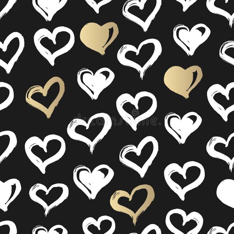 Bezszwowy serce wzór Ręka rysująca z atramentem Czerń, złoto i biel, pocałunek miłości człowieka koncepcja kobieta Serce wzór dla royalty ilustracja