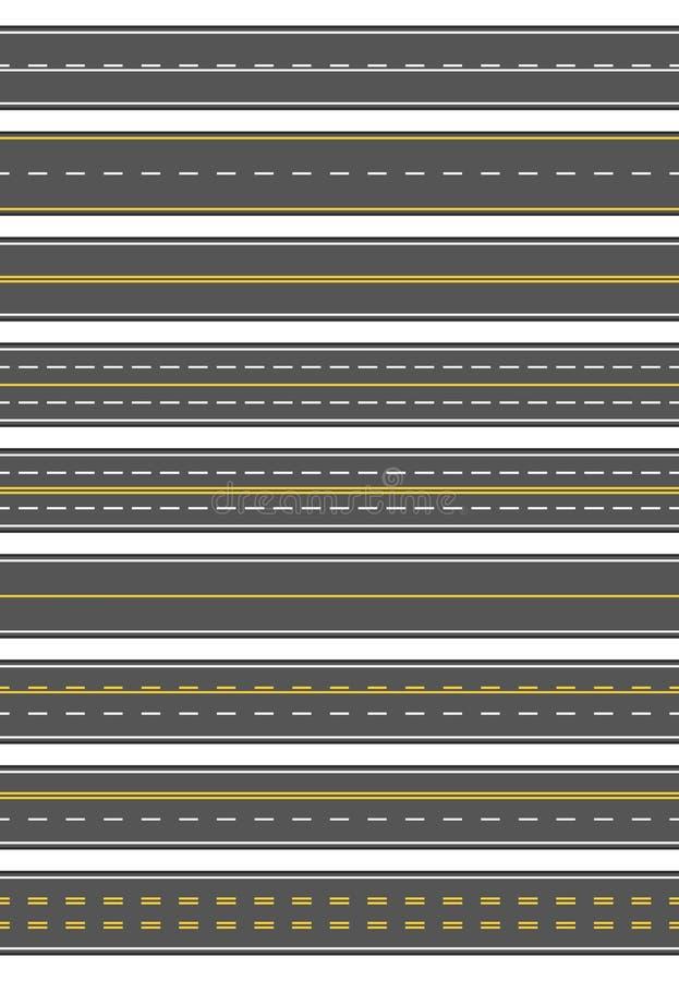 Bezszwowy set dziewięć różny drogowy ocechowanie Odgórny widok horyzontalne proste asfaltowe drogi Szablony z różnym ilustracji