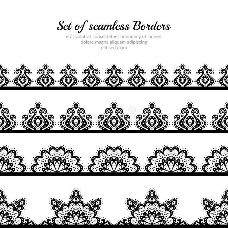 Bezszwowy set granicy w rocznika stylu Wzory kwiaty i kędziory royalty ilustracja
