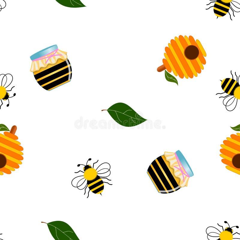 Bezszwowy set mamrocze pszczoły na bielu ilustracji