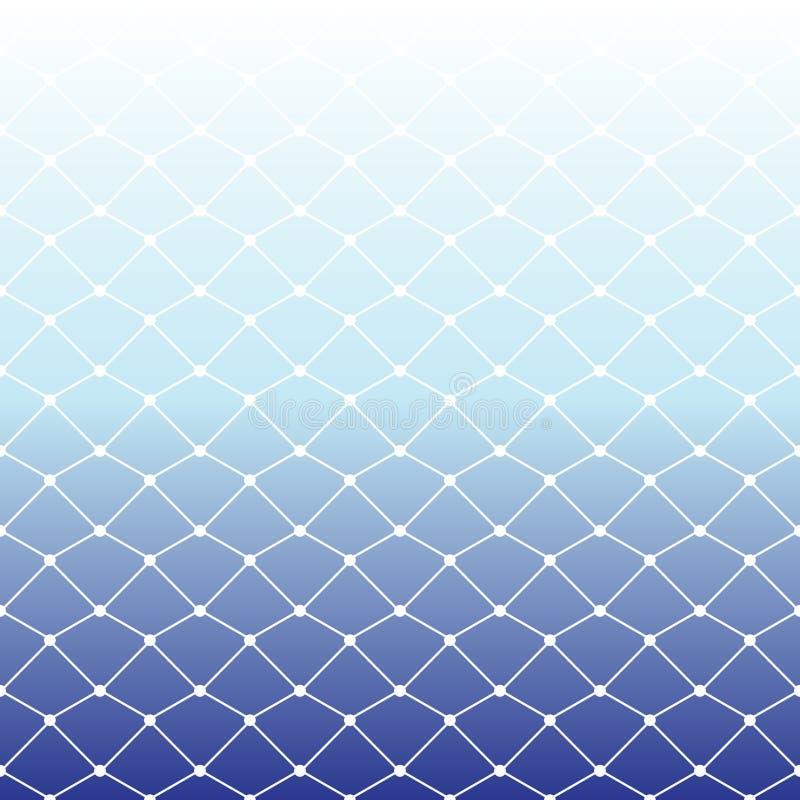 Bezszwowy sieć rybacka wzór na białym i błękitnym gradientowym backgrou ilustracja wektor