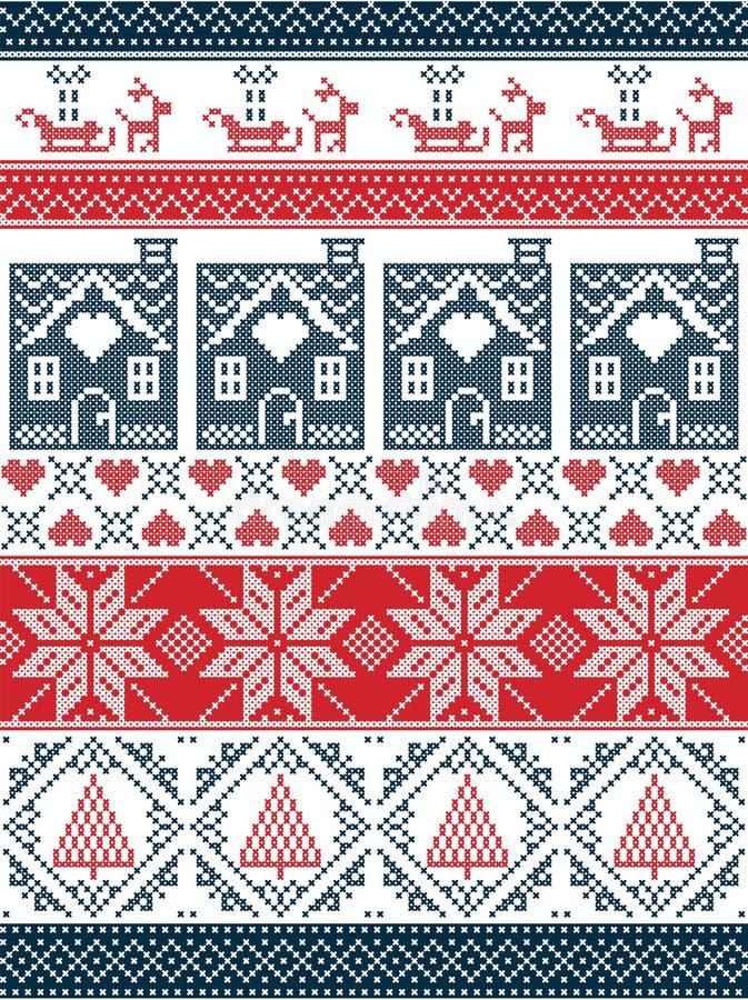 Bezszwowy Skandynawski tkanina styl, inspirowany Norweskimi bożymi narodzeniami, świątecznej zimy bezszwowy wzór w przecinającym  ilustracja wektor