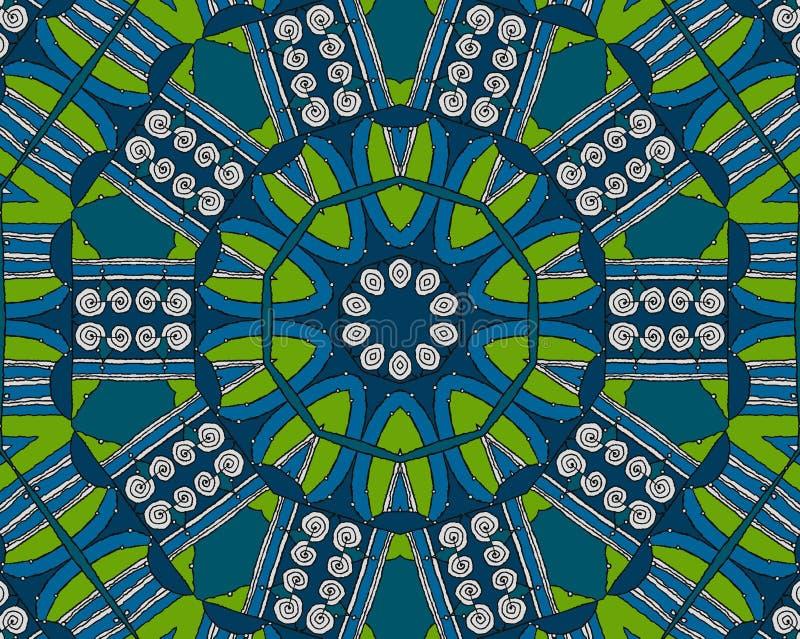 Bezszwowy spirala wzoru błękitnej zieleni biel royalty ilustracja