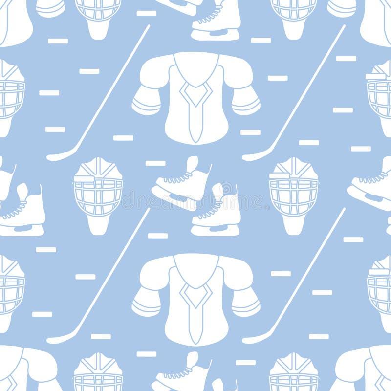 Bezszwowy sporta wzór Hokejowy wyposażenie ilustracji