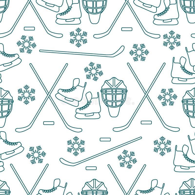 Bezszwowy sporta wzór Hokejowy wyposażenie royalty ilustracja