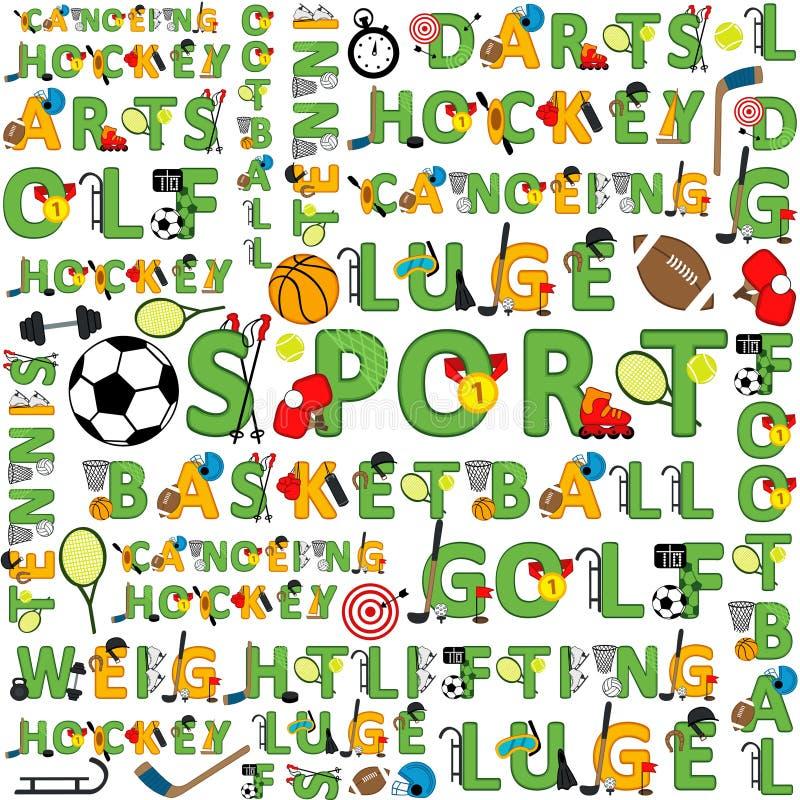 Bezszwowy sporta wzór słowa ilustracja wektor