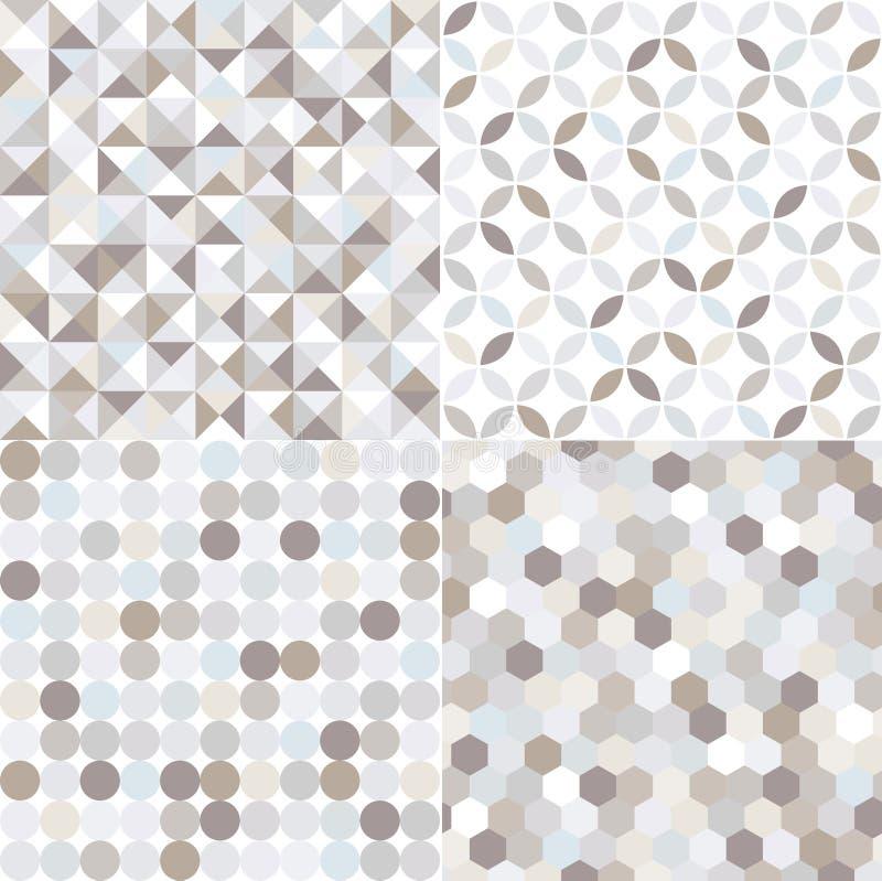 Bezszwowy srebny geometryczny płytka wzór royalty ilustracja