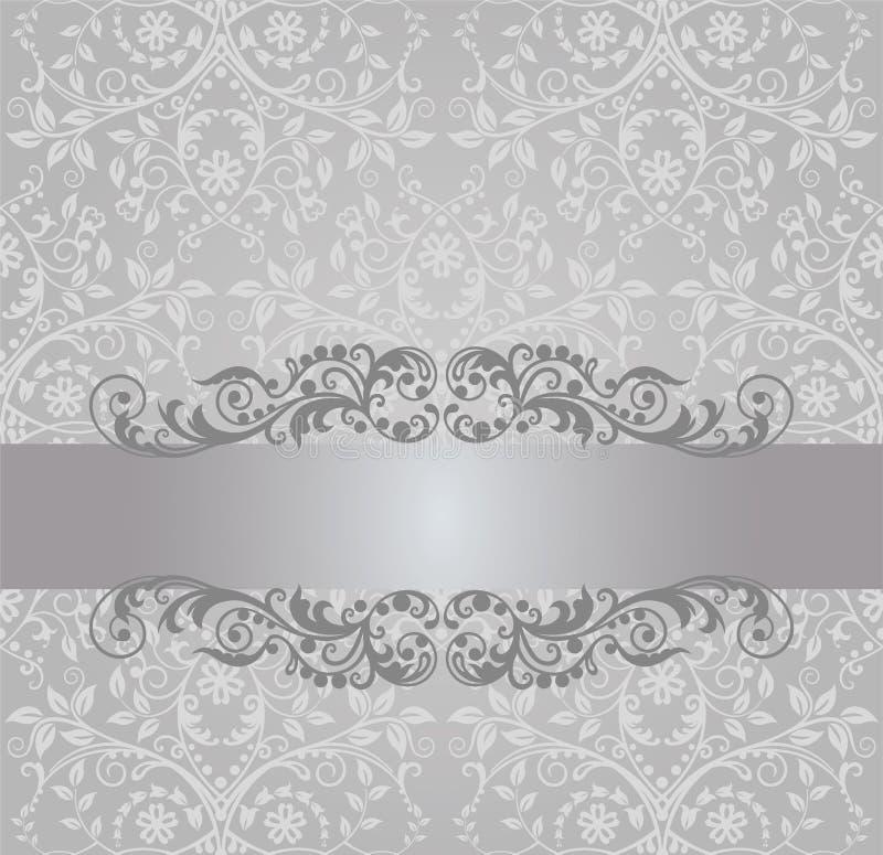 Bezszwowy srebny tapety i rocznika sztandar royalty ilustracja