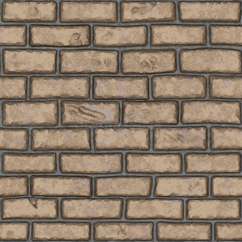 Bezszwowy stary jasnobrązowy ściana z cegieł (handpainted) zdjęcia stock