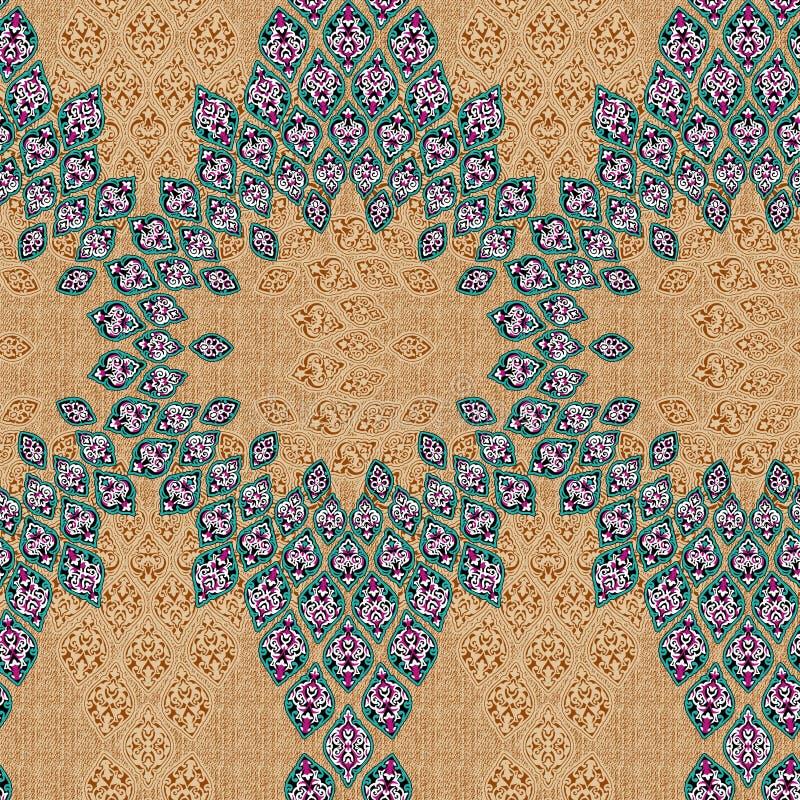 Bezszwowy stary ornamentu batika wzór w unikalnym składzie fotografia stock