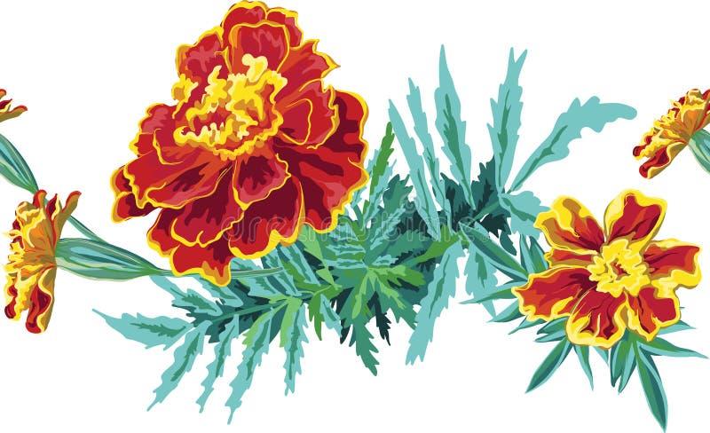 Bezszwowy szczotkarski Bezszwowy muśnięcie malujący pomarańczowi kwiaty Mari ilustracja wektor