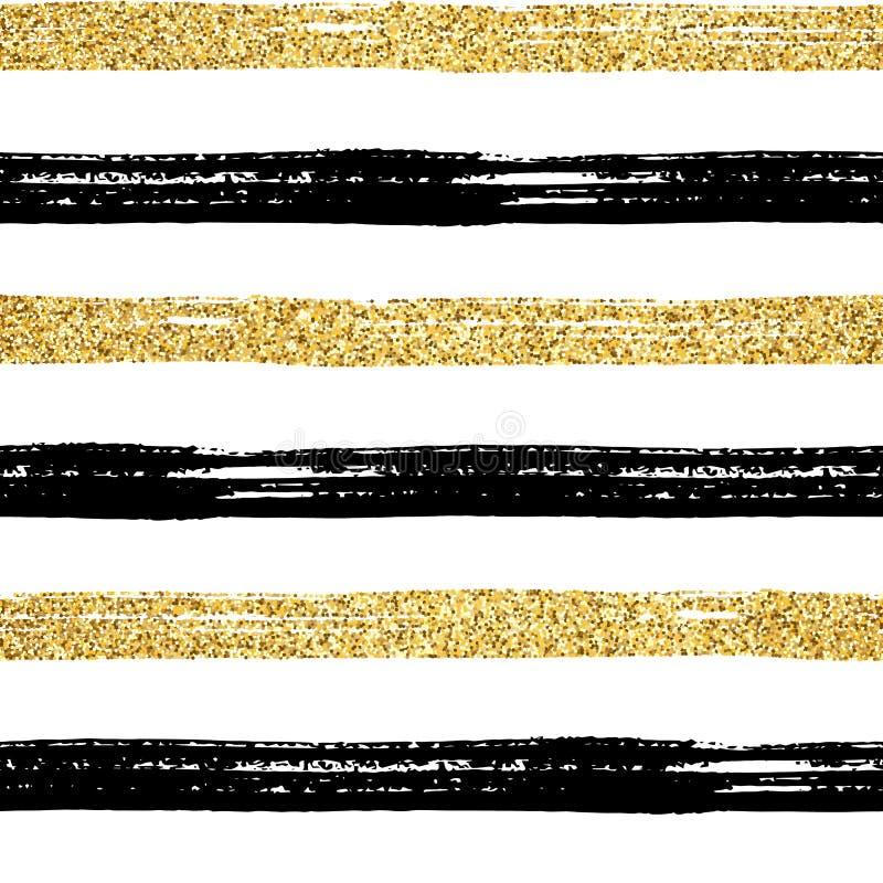 Bezszwowy szczotkarski uderzenie wzoru złoto ilustracji
