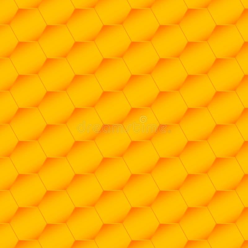 Bezszwowy sze?ciok?ta wz?r Honeycomb t?o od pszczo?a roju Wektorowa ilustracja geometryczna tekstura Wzór dla sieci, druk royalty ilustracja
