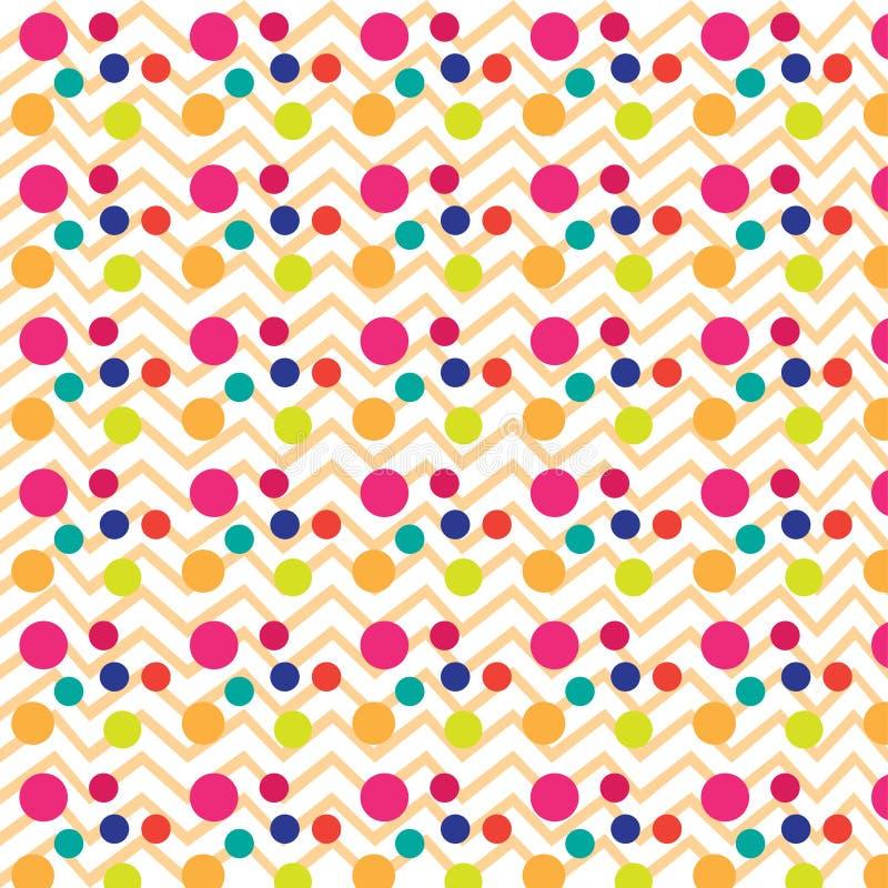 Bezszwowy szewronu zygzag kropkuje kolorowego wzór ilustracji